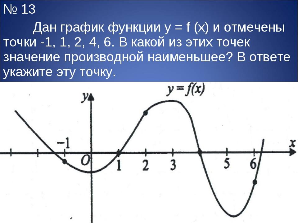 № 13 Дан график функции y = f (x) и отмечены точки -1, 1, 2, 4, 6. В какой и...