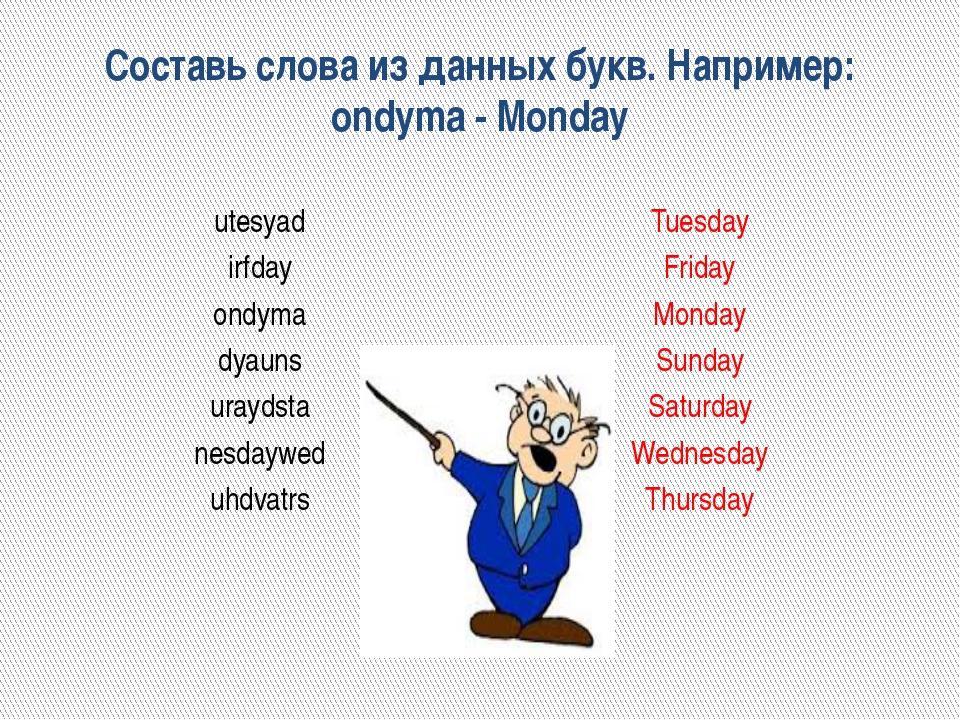 Составь слова из данных букв. Например: ondyma - Monday utesyad irfday ondyma...