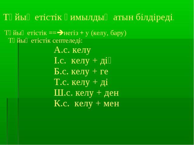 Тұйық етістік қимылдың атын білдіреді. Тұйық етістік ==негіз + у (келу, бару...