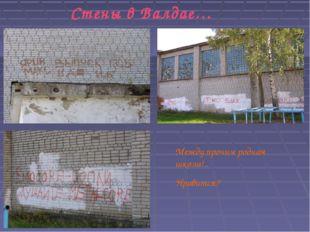 Стены в Валдае… Между прочим родная школа!.. Нравится?