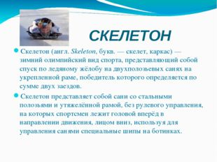 СКЕЛЕТОН Скелетон(англ.Skeleton, букв. — скелет, каркас) — зимний олимпийск