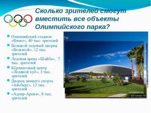 Сколько зрителей смогут вместить все объекты Олимпийского парка? Олимпийский