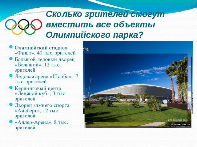Сколько зрителей смогут вместить все объекты Олимпийского парка? Олимпийский...