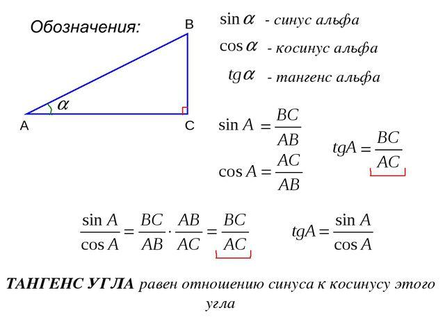 - синус альфа А В С - косинус альфа - тангенс альфа ТАНГЕНС УГЛА равен отноше...
