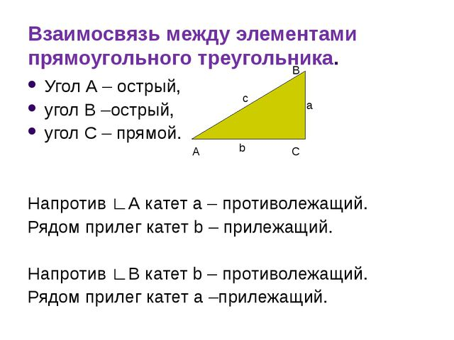 Взаимосвязь между элементами прямоугольного треугольника. Угол А – острый, уг...