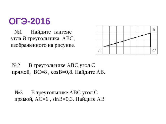 ОГЭ-2016 №1Найдите тангенс углаВтреугольника АВС, изображенного на рисунк...