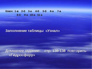 Ключ: 1-в 2-б 3-а 4-б 5-б 6-а 7-а 8-б 9-а 10-а 11-а Заполнение таблицы «Узна