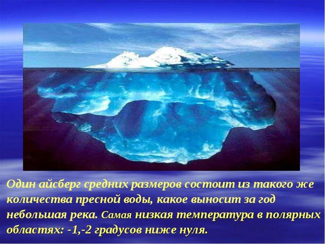 Один айсберг средних размеров состоит из такого же количества пресной воды, к...