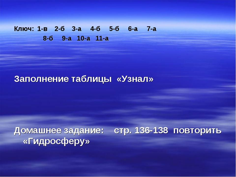 Ключ: 1-в 2-б 3-а 4-б 5-б 6-а 7-а 8-б 9-а 10-а 11-а Заполнение таблицы «Узна...