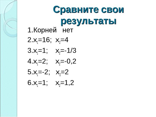 Сравните свои результаты 1.Корней нет 2.х1=16; х2=4 3.х1=1; х2=-1/3 4.х1=2; х...
