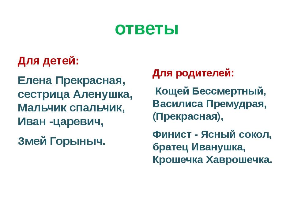 ответы Для детей: Елена Прекрасная, сестрица Аленушка, Мальчик спальчик, Иван...
