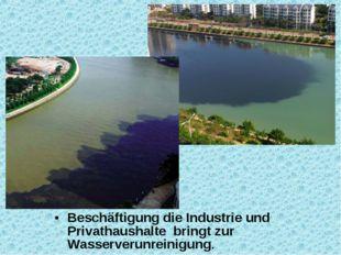 Beschäftigung die Industrie und Privathaushalte bringt zur Wasserverunreinigu