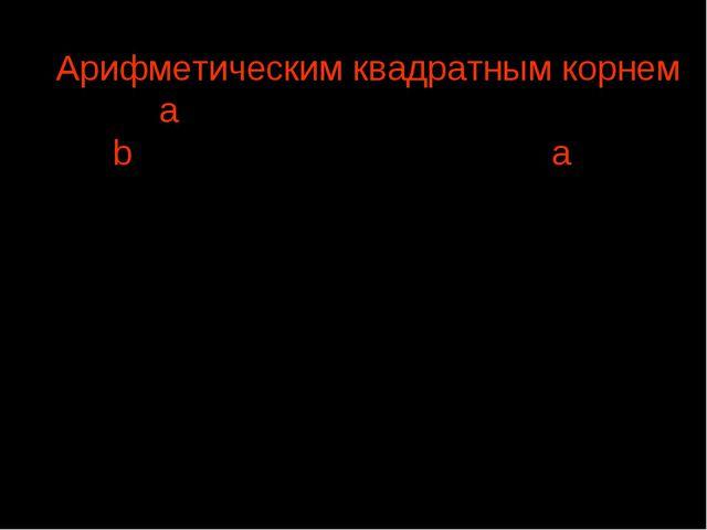 , где b ≥ 0, если a=b2 Арифметическим квадратным корнем из числа а на...