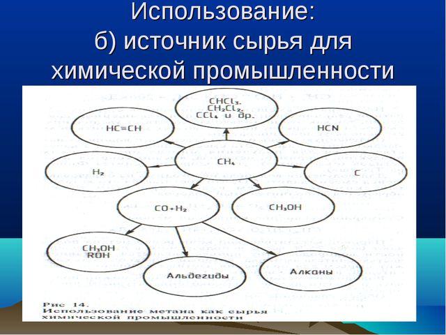Использование: б) источник сырья для химической промышленности