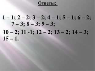 Ответы: 1 – 1; 2 – 2; 3 – 2; 4 – 1; 5 – 1; 6 – 2; 7 – 3; 8 – 3; 9 – 3; 10 – 2