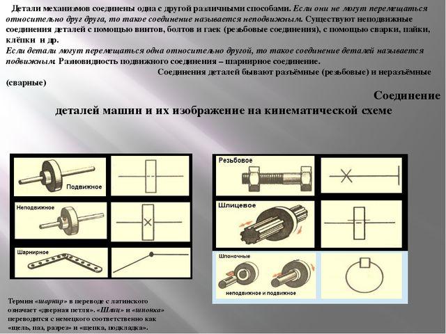 Детали механизмов соединены одна с другой различными способами. Если они не м...