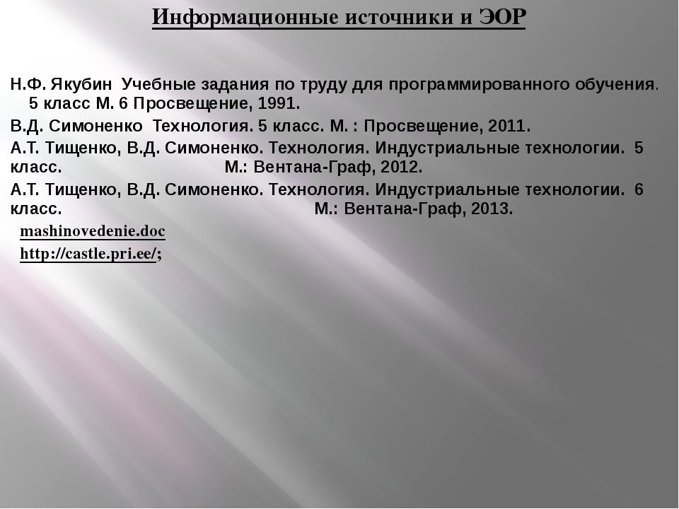 Информационные источники и ЭОР Н.Ф. Якубин Учебные задания по труду для прог...