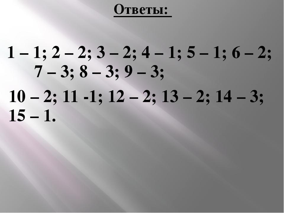 Ответы: 1 – 1; 2 – 2; 3 – 2; 4 – 1; 5 – 1; 6 – 2; 7 – 3; 8 – 3; 9 – 3; 10 – 2...