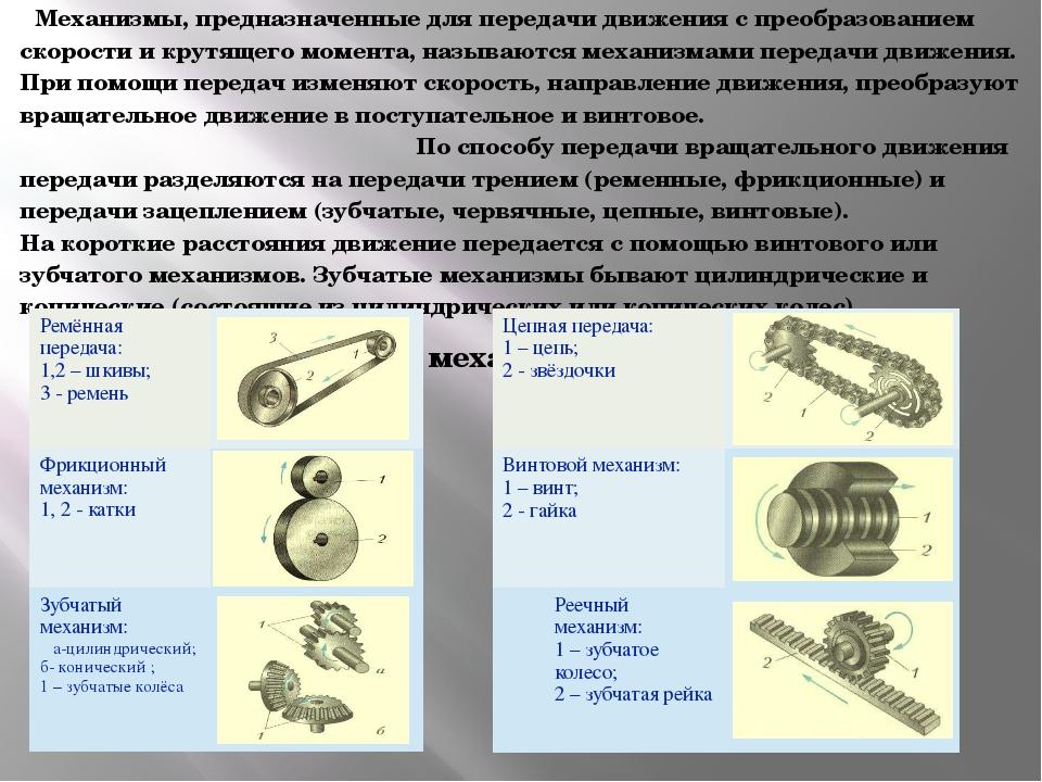 Механизмы, предназначенные для передачи движения с преобразованием скорости...