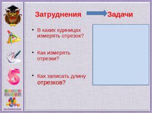 Затруднения Задачи В каких единицах измерять отрезок? Как измерять отрезки? К
