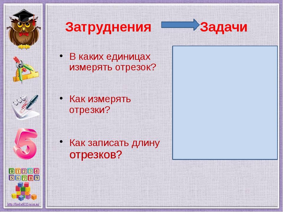 Затруднения Задачи В каких единицах измерять отрезок? Как измерять отрезки? К...