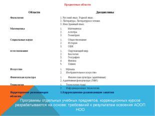 Предметные области Программы отдельных учебных предметов, коррекционных курсо
