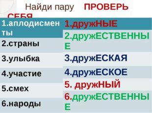 Найди пару ПРОВЕРЬ СЕБЯ 1.аплодисменты 2.страны 3.улыбка 4.участие 5.смех 6.