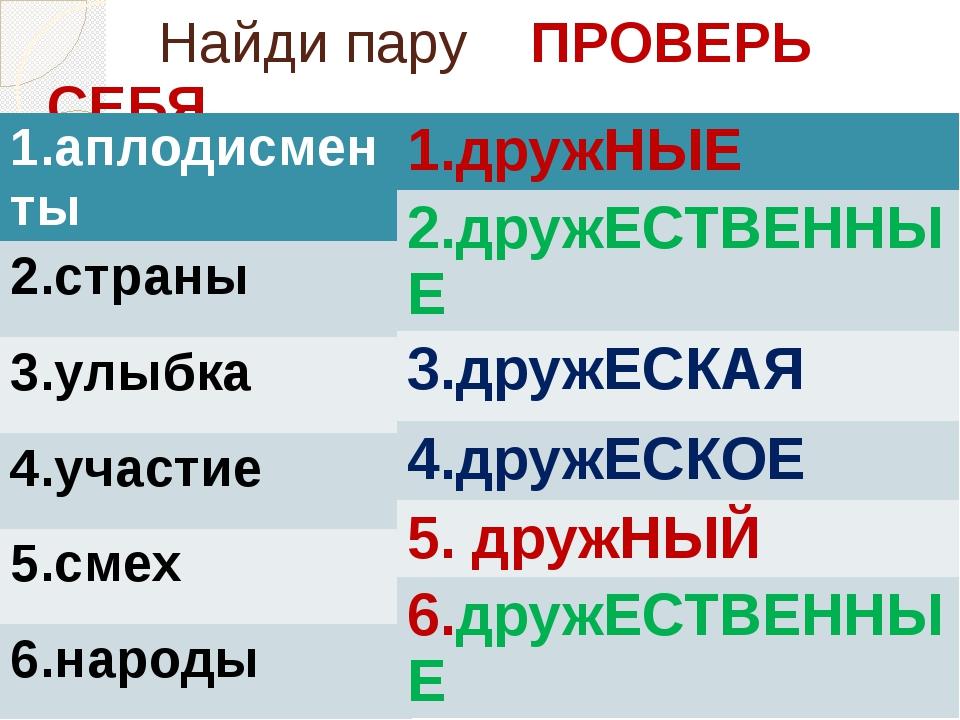 Найди пару ПРОВЕРЬ СЕБЯ 1.аплодисменты 2.страны 3.улыбка 4.участие 5.смех 6....