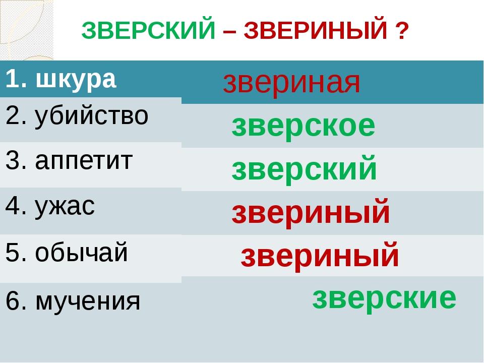 ЗВЕРСКИЙ – ЗВЕРИНЫЙ ? 1. шкура 2. убийство 3. аппетит 4. ужас 5. обычай 6. м...
