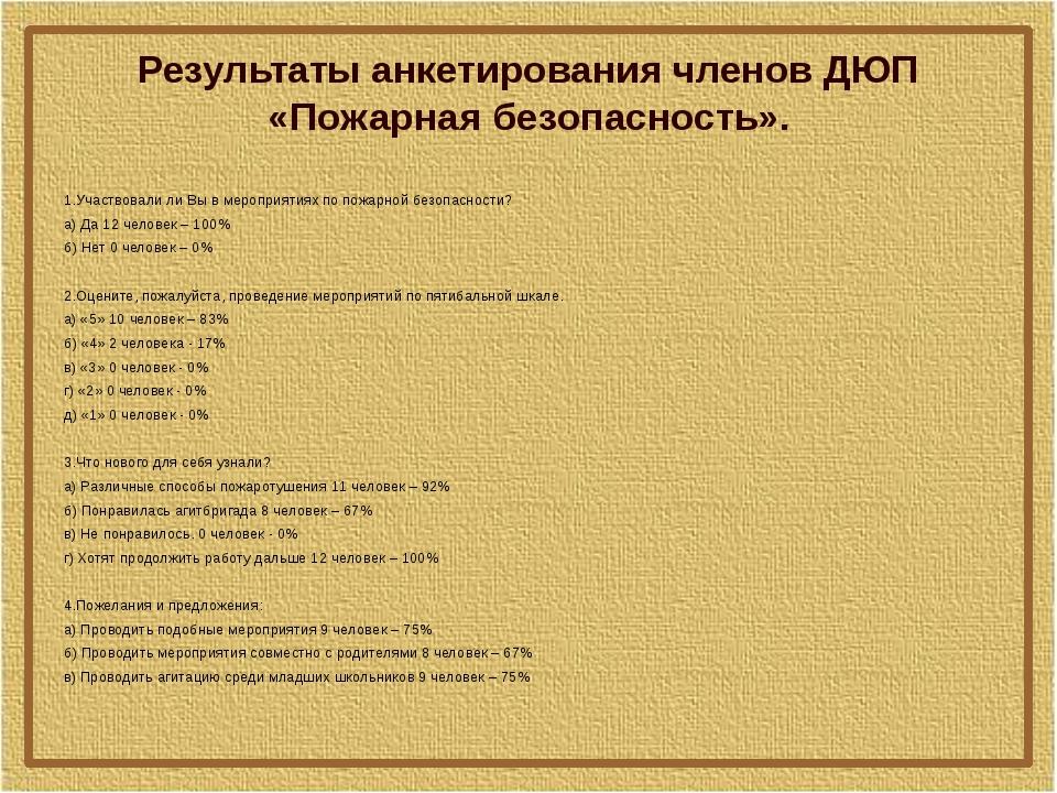 Результаты анкетирования членов ДЮП «Пожарная безопасность». 1.Участвовали ли...