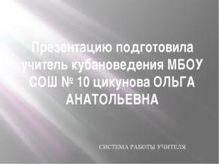 Презентацию подготовила учитель кубановедения МБОУ СОШ № 10 цикунова ОЛЬГА АН