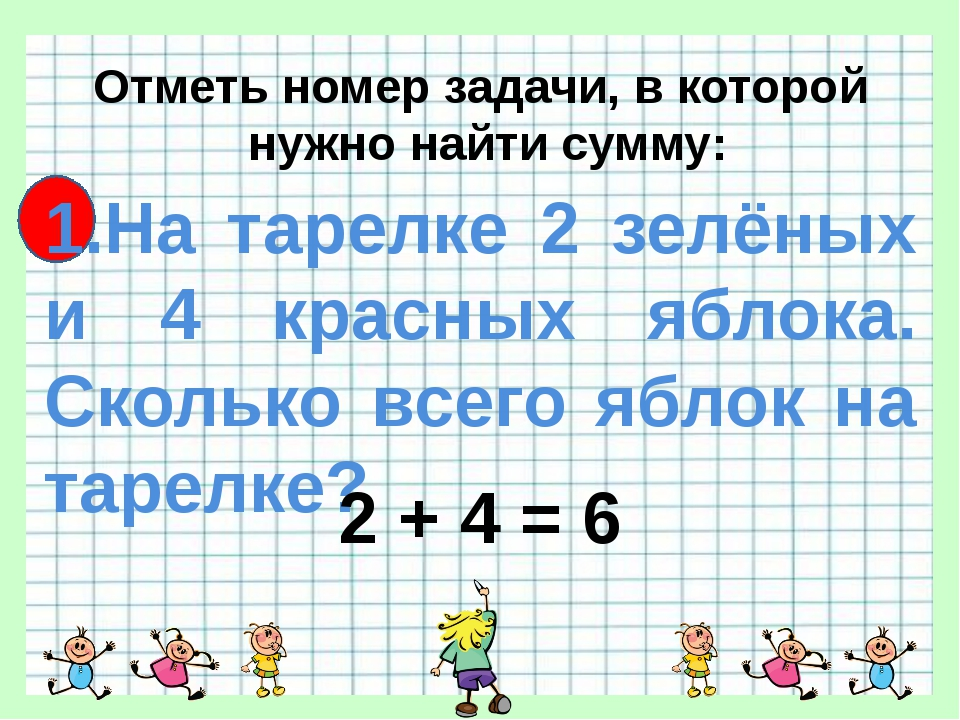 Отметь номер задачи, в которой нужно найти сумму: 1.На тарелке 2 зелёных и 4...