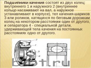 Подшипники качениясостоят из двух колец: внутреннего 1 и наружного 2 (внутре