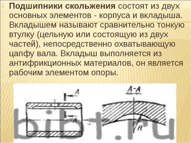 Подшипники скольжениясостоят из двух основных элементов - корпуса и вкладыша...