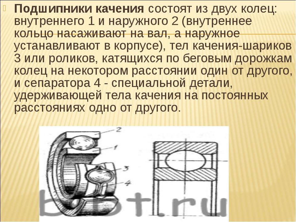 Подшипники качениясостоят из двух колец: внутреннего 1 и наружного 2 (внутре...
