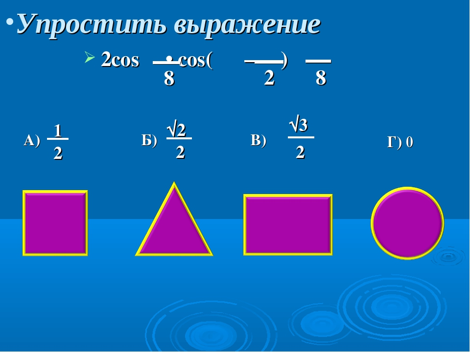 Упростить выражение 2cos • cos( – ) A) Б) В) Г) 0 π 8 π 2 π 8 1 2 √2 2 √3 2