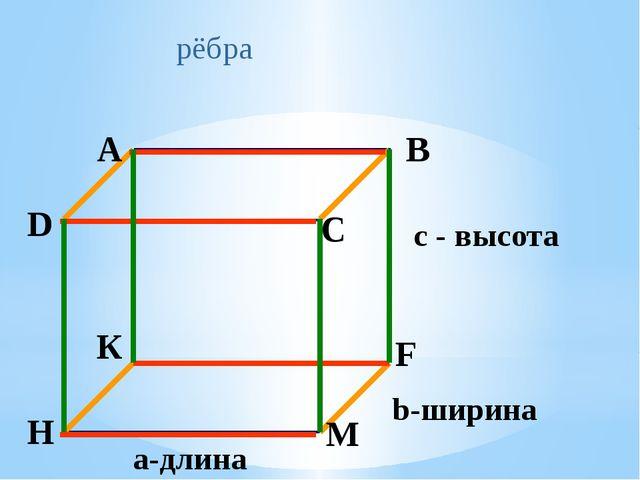 рёбра а-длина b-ширина с - высота A B C D К F М H