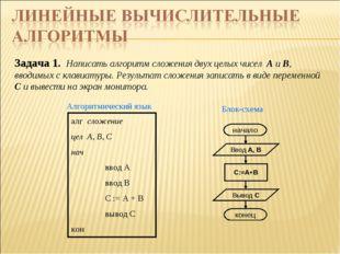 Задача 1. Написать алгоритм сложения двух целых чисел А и В, вводимых с клави