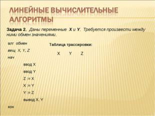 Задача 2 Даны переменные X и Y Требуется произвести между ними обмен значен
