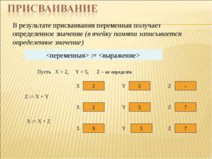 В результате присваивания переменная получает определенное значение (в ячейку