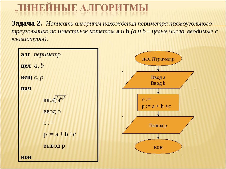 Задача 2. Написать алгоритм нахождения периметра прямоугольного треугольника...