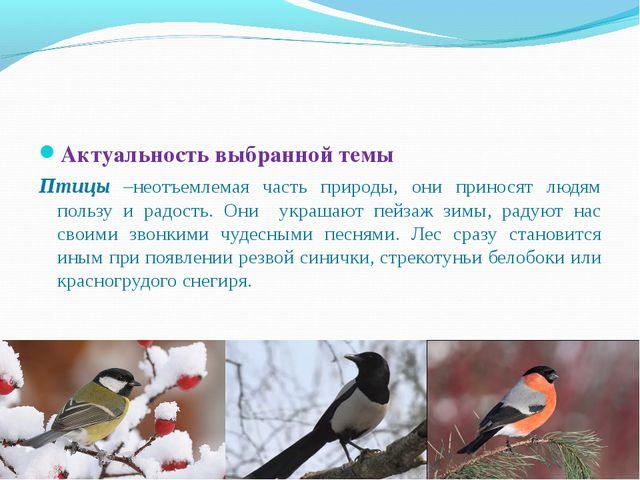 Актуальность выбранной темы Птицы –неотъемлемая часть природы, они приносят л...