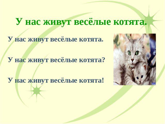 У нас живут весёлые котята. У нас живут весёлые котята. У нас живут весёлые к...