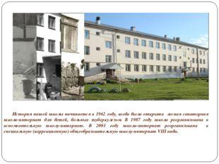 История нашей школы начинается в 1962 году, когда была открыта лесная сана