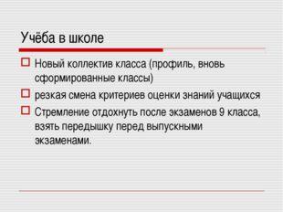 Учёба в школе Новый коллектив класса (профиль, вновь сформированные классы) р