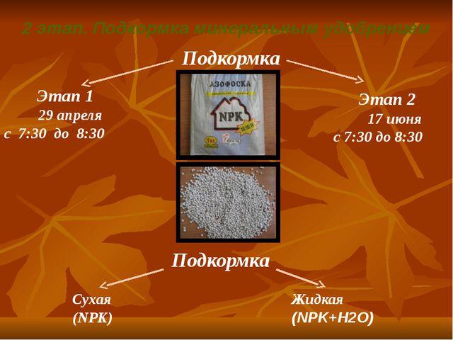 2 этап. Подкормка минеральным удобрением 29 апреля с 7:30 до 8:30 17 июня с 7...