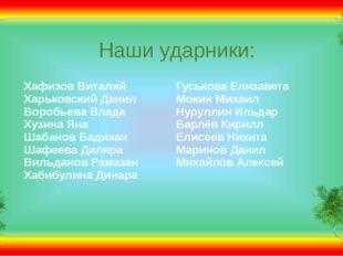Наши ударники: Хафизов Виталий Харьковский Данил Воробьева Влада Хузина Яна Ш
