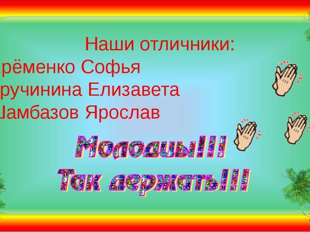 Наши отличники: Ерёменко Софья  Кручинина Елизавета Шамбазов Ярослав