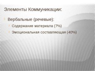 Элементы Коммуникации: Вербальные (речевые): Содержание материала (7%) Эмоцио