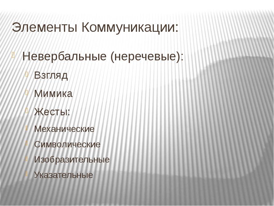 Элементы Коммуникации: Невербальные (неречевые): Взгляд Мимика Жесты: Механи...